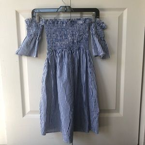 Forever 21 Striped Off The Shoulder Mini Dress EUC
